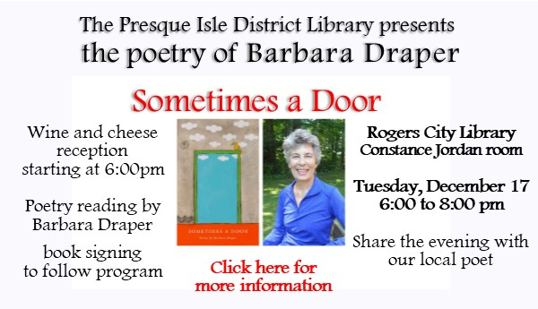 Local Poet, Barbara Draper presents her book of poetry,