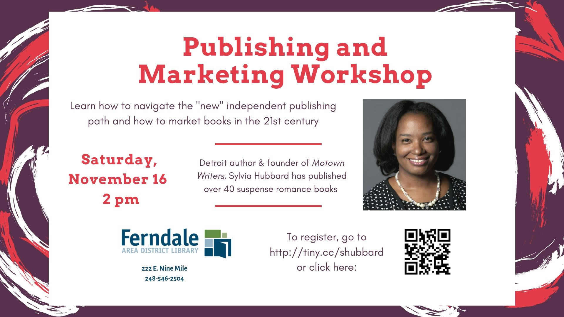 Publishing and Marketing Workshop with Sylvia Hubbard