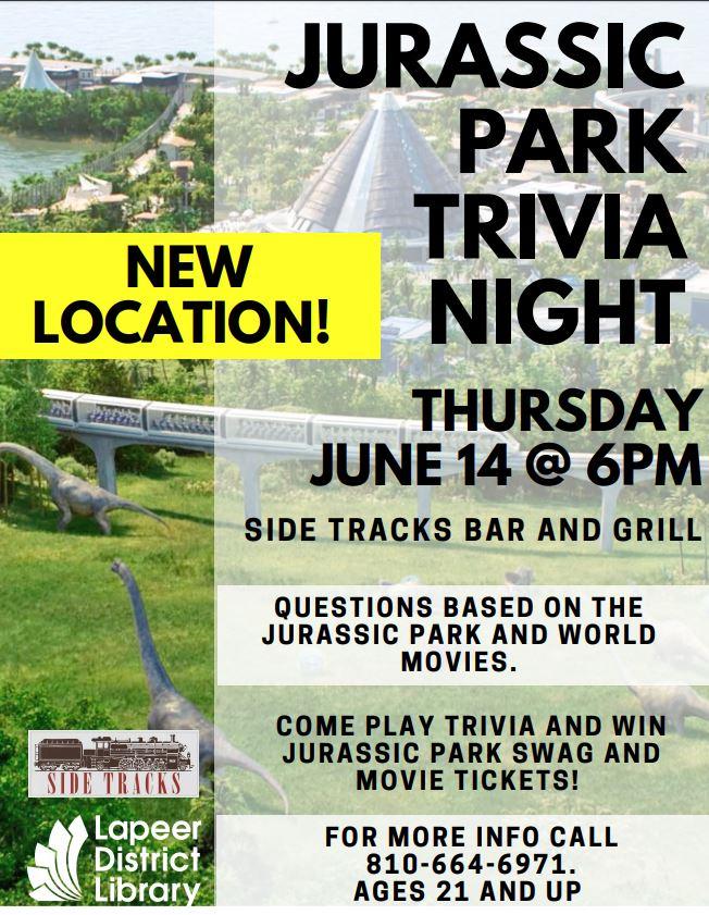 Jurassic Park Trivia night - Thursday, June 14, 2018, 6:00 PM - Lapeer