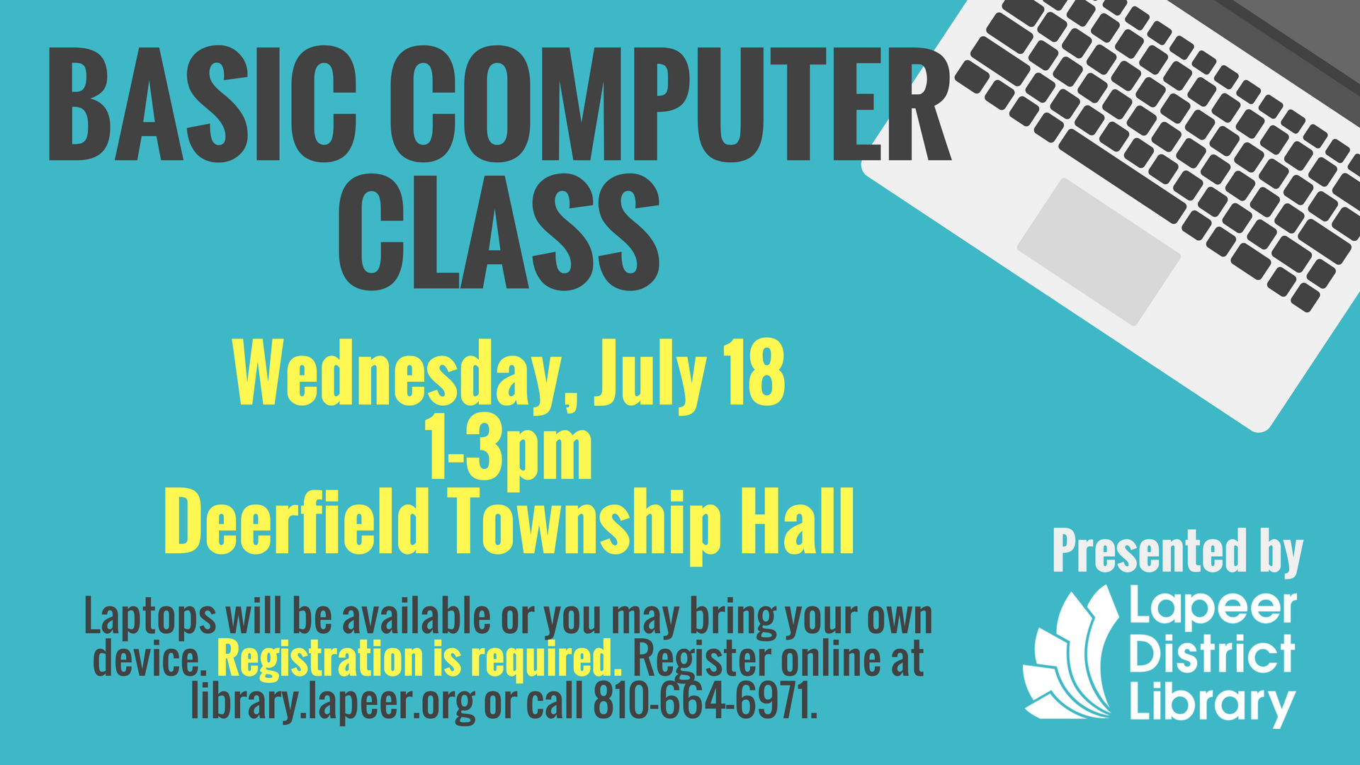 Basic Computer Class at Deerfield Township Hall - Wednesday, July 18