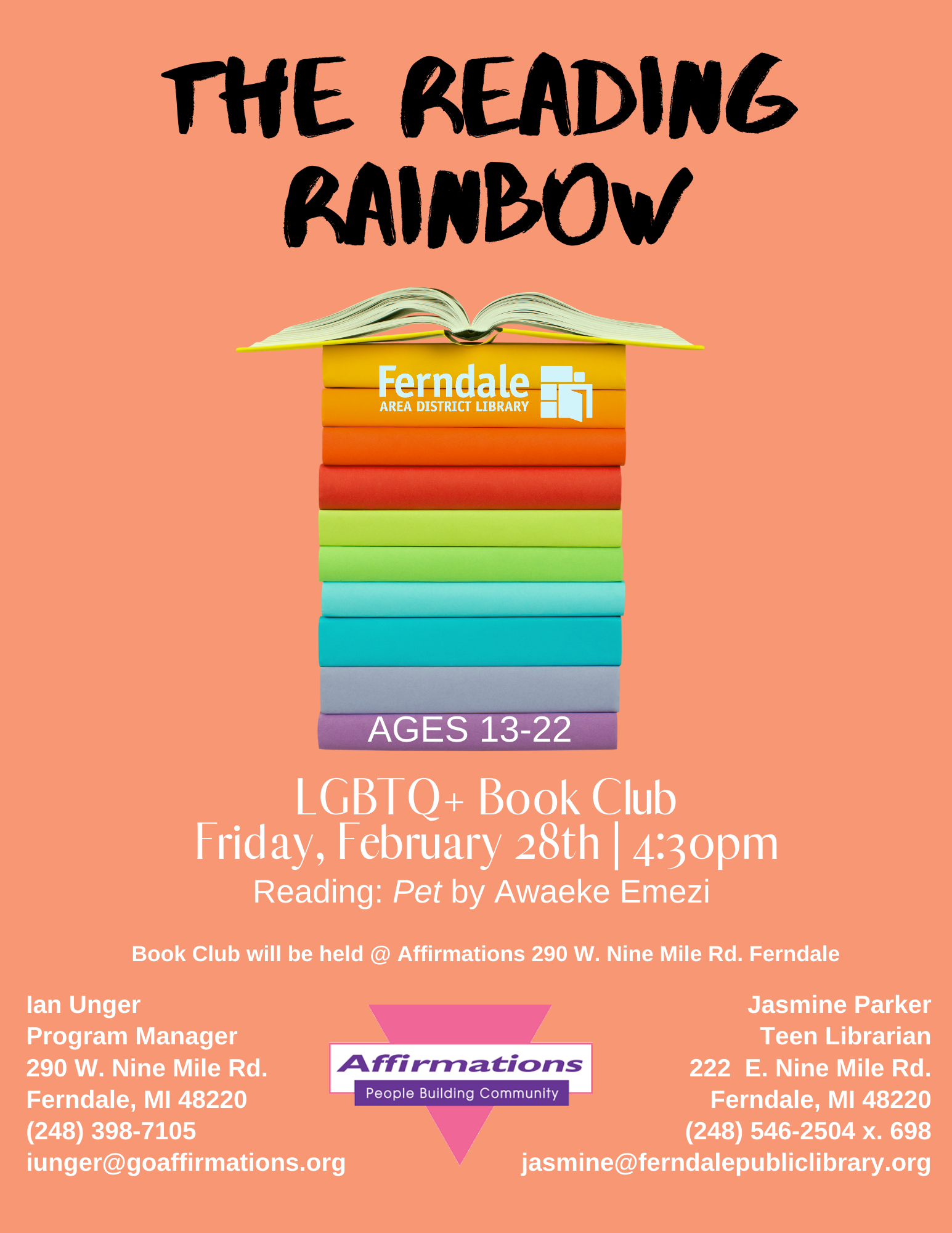 Reading Rainbow BookClub @ Affirmations (Ages 13-22)