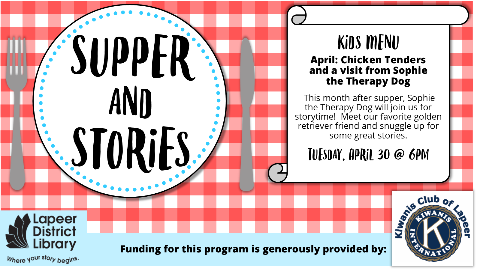 Supper & Stories - THEME: Sophie the Therapy Dog