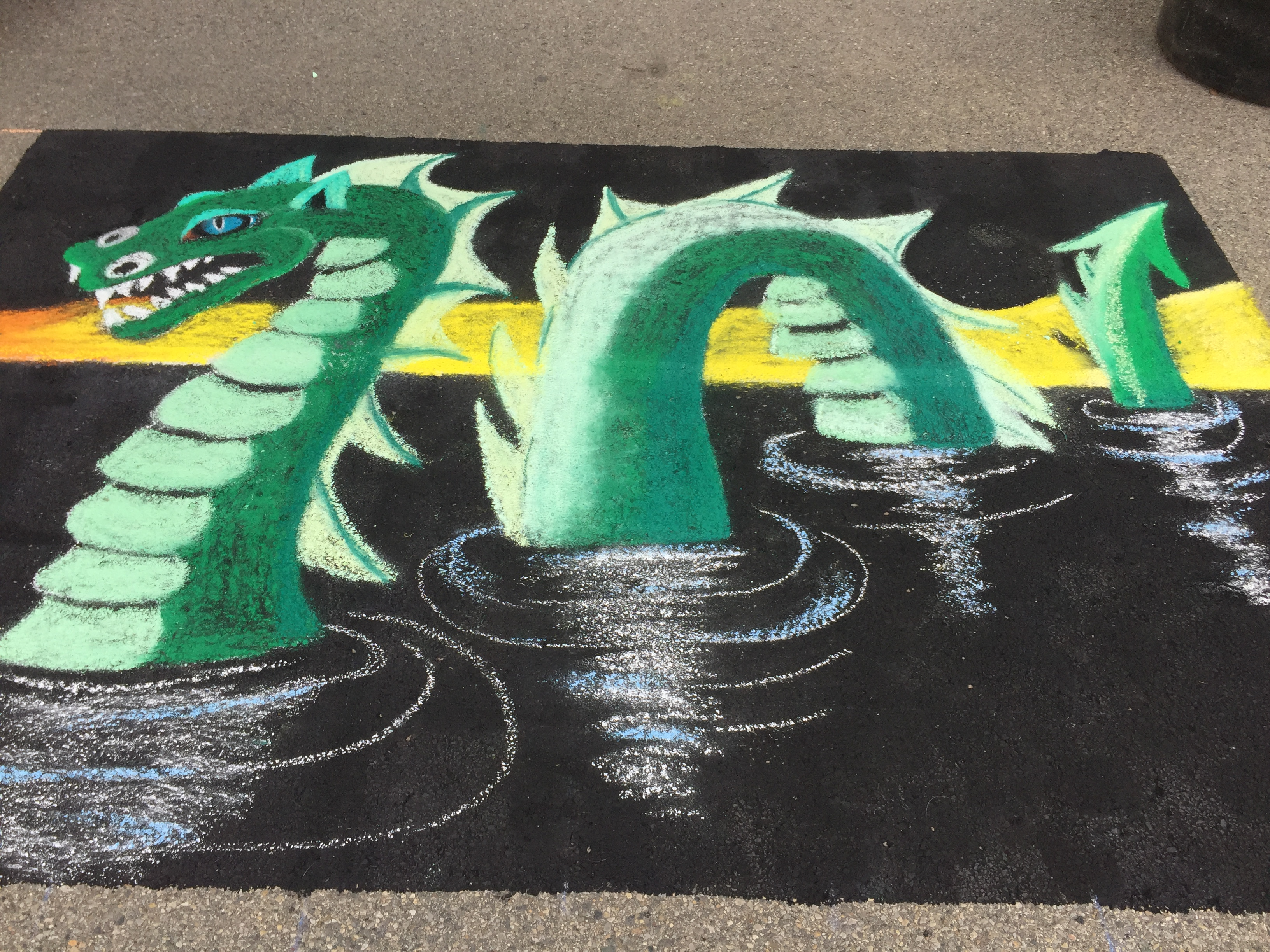 Dragon On The Lake Chalk Art Challenge