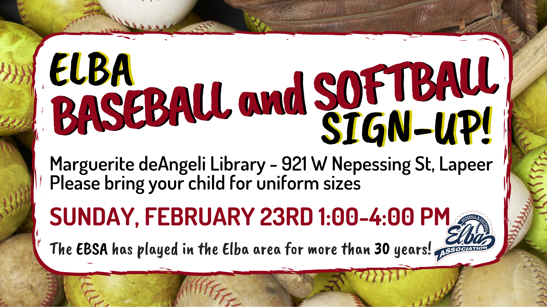 Elba Baseball and Softball sign up