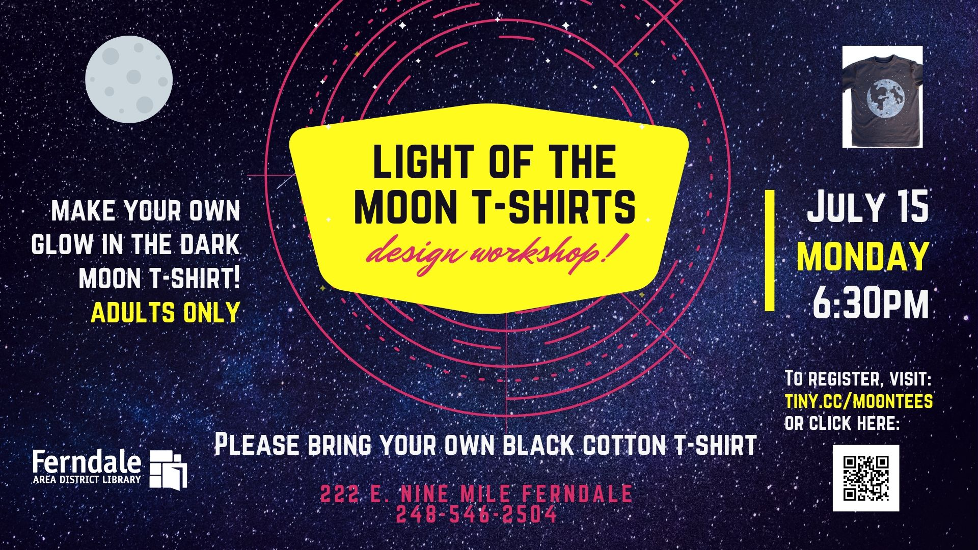 Summer Reading: Light of the Moon T-Shirt Workshop