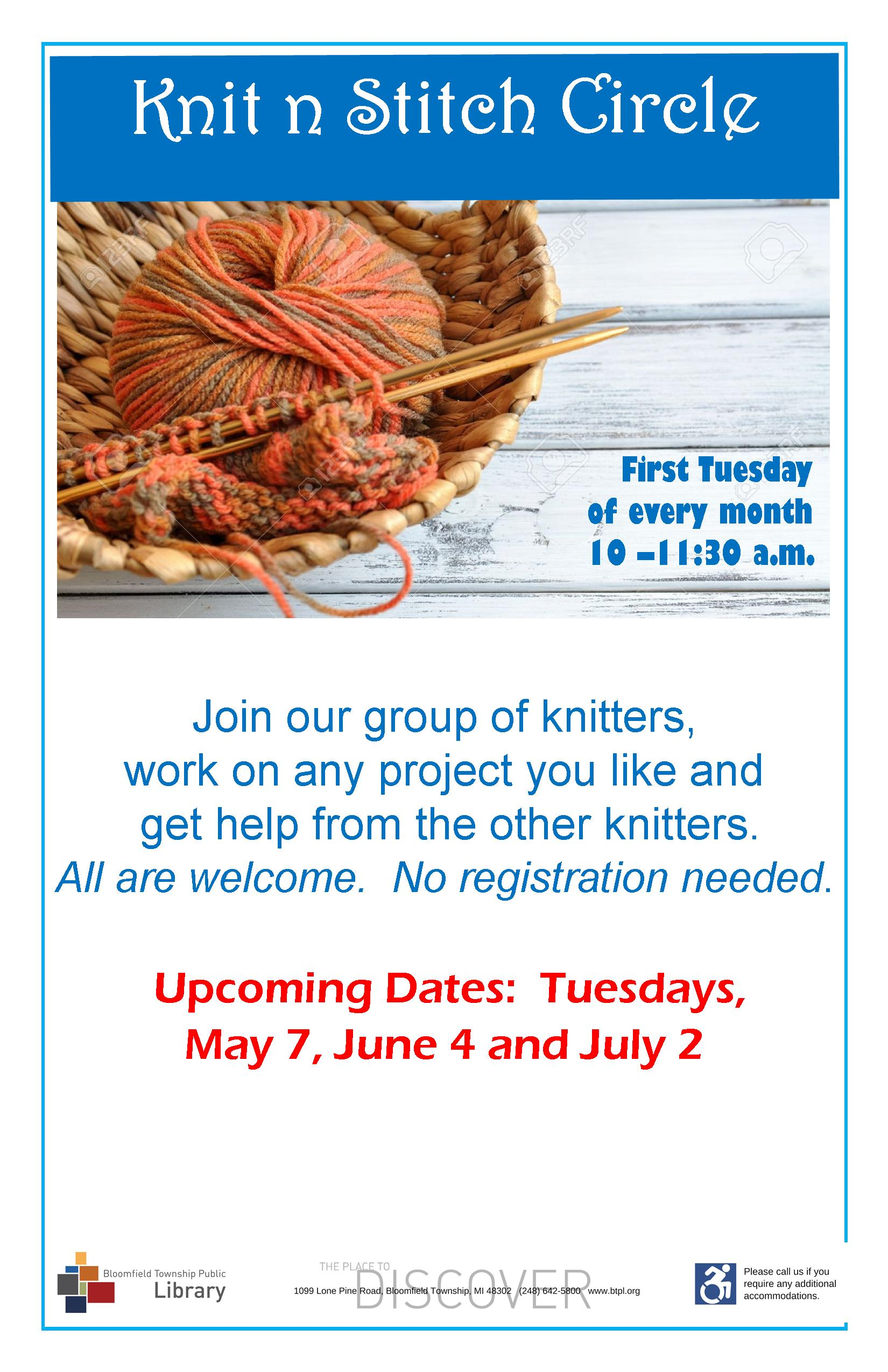 Knit 'n Stitch Circle - Tuesday, August 7, 2018, 10:00 AM - Bloomfield