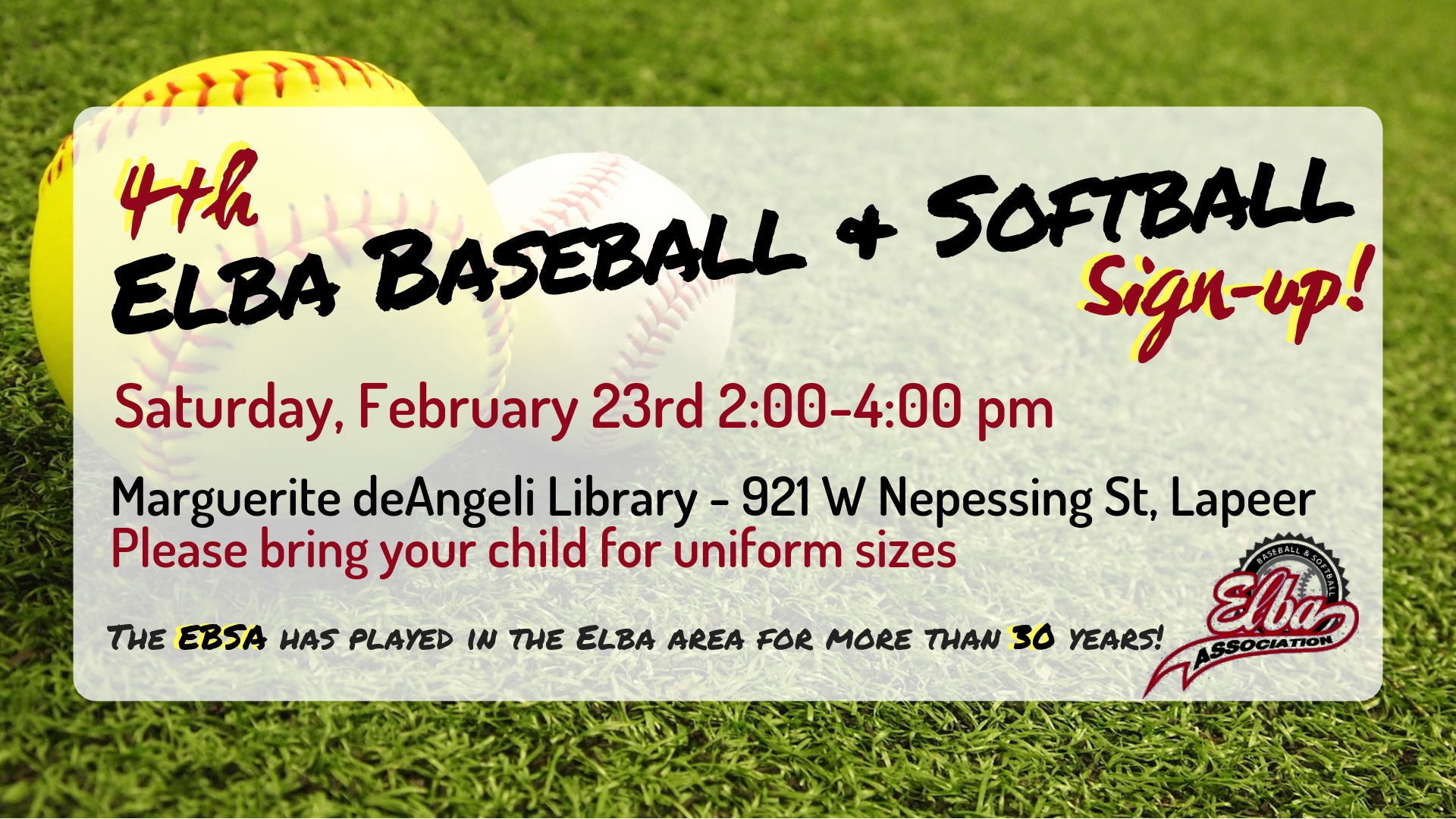 Elba Baseball and Softball sign-up! (4th)