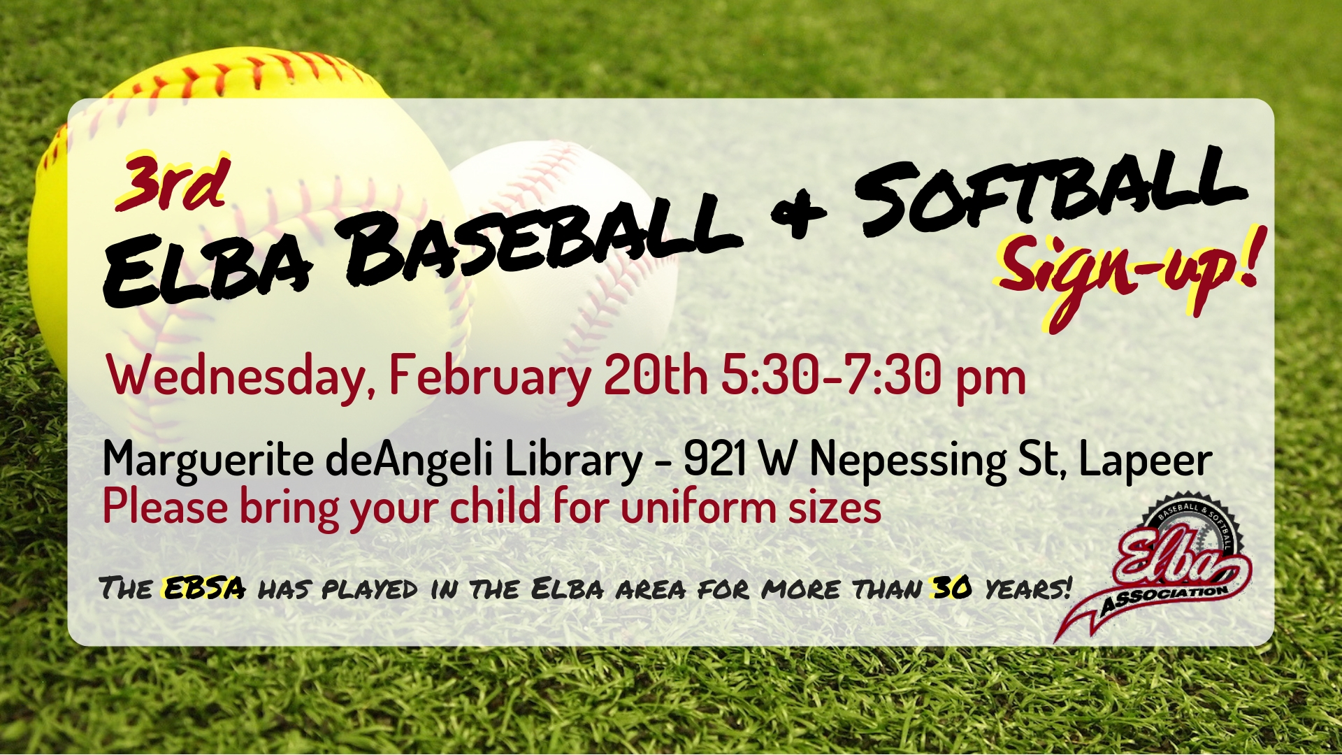 Elba Baseball and Softball sign-up! (3rd)