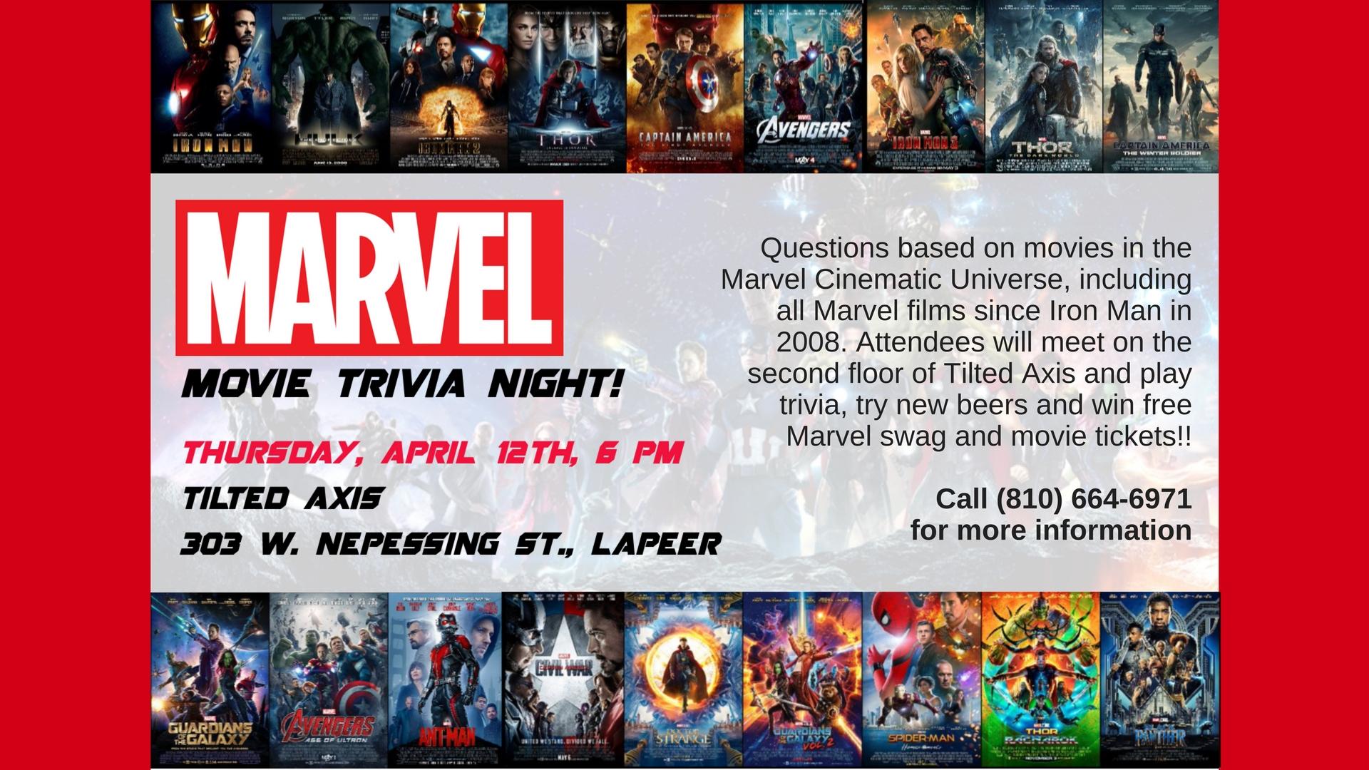 Marvel Movie trivia night - Thursday, April 12, 2018, 6:00 PM - Lapeer