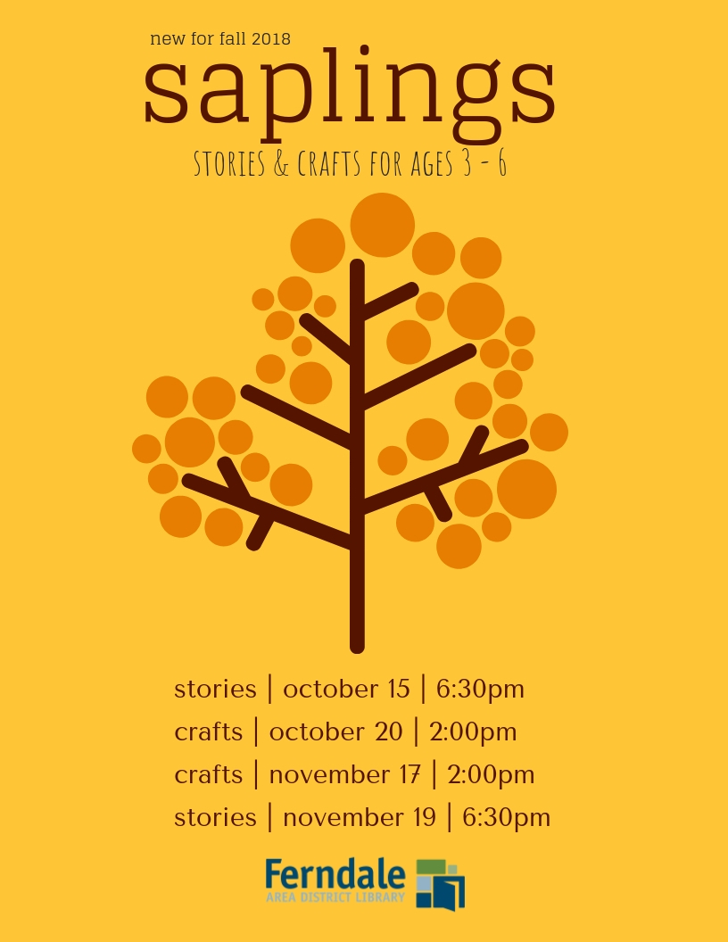 Saplings Craft Time (Recommended Ages 4-6. Families Welcome)
